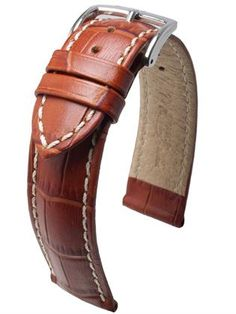 Hirsch Modena: Calf leather of the highest quality is processed by Italian master tanners to give it a finish that would do credit to genuine alligator. The water- and sweat-resistant lining leather is seamlessly joined to the upper material by means of the HIRSCH Rembordé technology, making this strap – which comes in many different colours – so robust and at the same time a pleasure to wear.