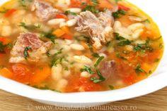 Ciorbă de fasole boabe cu afumătură Soup Recipes, Cooking Recipes, European Dishes, Romanian Food, Recipe For 4, Dinner Menu, Meals For One, Soups And Stews, Yummy Food