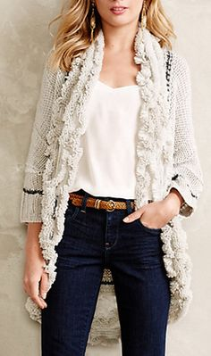 Love this ruffled open long cardigan - so pretty!  #anthrofave http://rstyle.me/n/rykj5nyg6