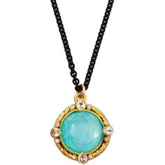 Armenta Blue Turquoise Moonstone Pendant Necklace ($1,570) ❤ liked on Polyvore