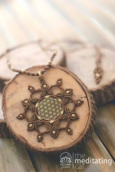 Handmade macrame necklace with Flower of Life pendant - Sacred Geometry
