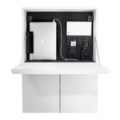 Combined workstation and storage for laptop and accessories. Saves space and is easy to place anywhere in your home.