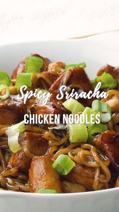 Spicy Sriracha Chicken Noodles by Plain Chicken This easy recipe is ready to eat in 15 minutes Chicken ramen noodles brown sugar soy sauce sriracha and peanuts Pin made by Chicken Noodle Recipes, Ramen Recipes, Chicken Noodles, Spicy Recipes, Asian Recipes, Ramen Noodles, Cooking Recipes, Chicken Pasta, Broccoli Chicken