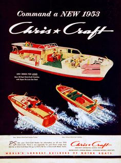 Chris-Craft Boats - # - Boating on the Lower colorado River, Hidden . Chris Craft Wooden Boats, Vintage Boats, Vintage Art, Classic Wooden Boats, Cabin Cruiser, Ibiza, Old Boats, Yacht Boat, Boat Design
