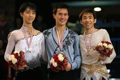 Nobunari Oda (JAPAN) , Patrick Chan(Canada) and Yuzuru Hanyu(JAPAN) : Skate canada 2013