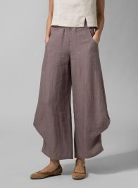 Linen Flared Leg Pants Taupe Brown