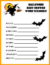 halloween baby shower scramble and other games - Halloween Word Game