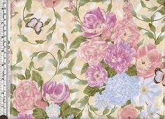 Roses-lilacs-and-butterflies-on-cream-quilting-fabric-pre-cut-FQ