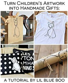 Handmade Holiday Gift Ideas: Turn Children's Artwork into meaningful handmade gifts with these ideas via lilblueboo.com #gifts #diy #tutoria...