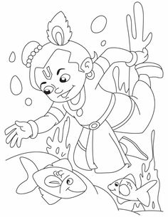 9 Pics Of Lord Krishna Coloring Pages Sketch Coloring Page