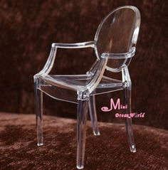 1/6 Barbie Tranparent Plastic Arm Chair Dollhouse Miniature in Furniture & Room Items | eBay