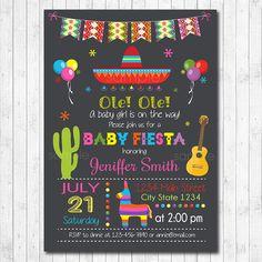 Mexican Fiesta Baby Shower, Mexican fiesta Invitation, Cinco de mayo, Mexican fiesta invite, girls invitation, printable by funkymushrooms on Etsy https://www.etsy.com/listing/474789175/mexican-fiesta-baby-shower-mexican