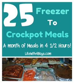 25 Meals in 4 Hours - Freezer to Crockpot Monthly Cooking. Excellent site with lots of information on how to successfully prepare freezer meals (not just for the crockpot either!) Several make ahead casserole dishes! Slow Cooker Freezer Meals, Make Ahead Freezer Meals, Crock Pot Freezer, Slow Cooker Recipes, Crockpot Recipes, Cooking Recipes, Freezer Recipes, Cooking Tips, Crockpot Dishes