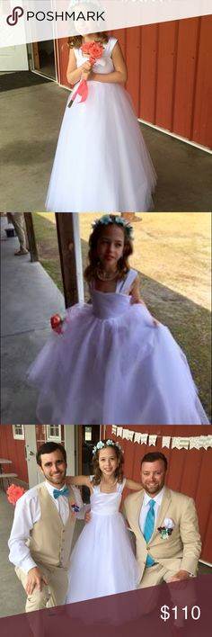 Girls size 6 flower Girl gown NWT. Gown pictured 8 Stunning white Flower girl or junior bridesmaid gown in a size 6. New with tags.  I ordered 2 sizes for my granddaughter ( shown in the pictures ) the 8 fit her perfectly.  She loved the dress and felt like a princess all day!! She said it was comfortable too!!! jjs house Dresses Formal