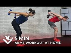 5 Min Arms Workout at Home with Dumbbells - Biceps and Triceps 5 Minute Arm Workout for Women & Men - YouTube