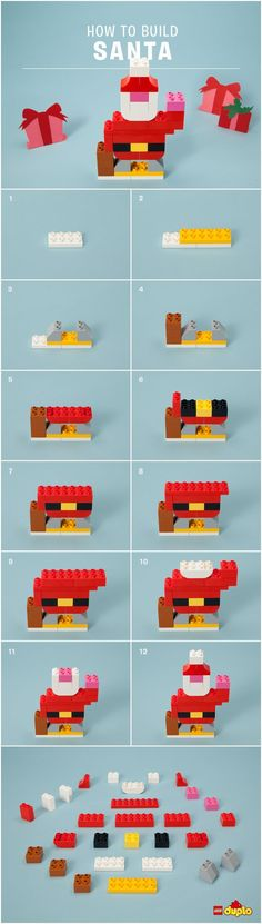Ho Ho Ho! Your little one can sweeten the holiday countdown by building their very own LEGO DUPLO Santa! http://www.lego.com/da-dk/family/articles/diy-santa-stocking-stuffers-and-holiday-decorations-7f2fe508d0504279995774d8194e3eca