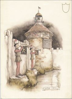 Magic Clock - Tales of the Efteling by Martine Bijl and Anton Pieck Anton Pieck, Fantasy Castle, Travel Drawing, Dutch Painters, 3d Drawings, Dutch Artists, Fantasy Illustration, Holland, Fairy Tail