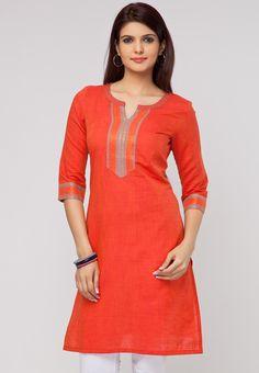 Solid Cotton Red Kurtas - Buy Women's Kurtas & Kurtis Online in India | Jabong.com