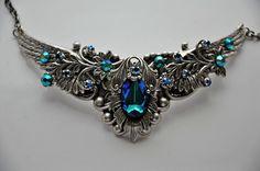 Victorian Choker Swarovski Crystal BERMUDA BLUE filigree vintage inspired romantic necklace BELLINI. $149.00, via Etsy.