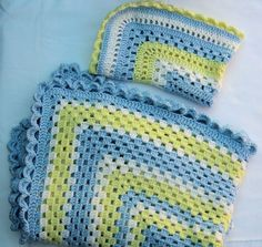 Crocheted Baby Afghan blue yellow cream