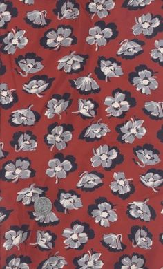 Fabulous 1940's Red Floral Hibiscus Rayon Fabric 5 ¾ Yards Vintage Rayon Fabric Yardage