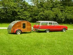 Ford Falcon wagon with a teardrop camper; beautiful combination!