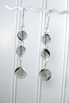 Swarovski Crystal  Sterling Silver Galactic Black Diamond Twisted Crystal Long Earrings. $20.00, via Etsy.