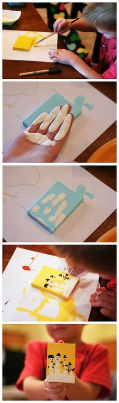 KIDS CRAFT: Hand print snowmen on small canvas.