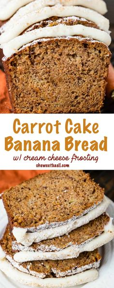 Banana Bread should be moist, flavorful and always served warm. We decided to take two favorites and create a carrot cake banana bread with cream cheese frosting! via @ohsweetbasil