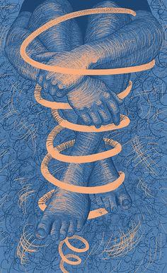 "Illustration ""Spiral"" | legs | hands | blue | digital | drawing  beauty | body"