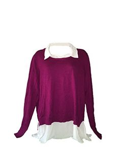 DKNYC WOMENS LAYERED LOOK-BUILT IN FAUX SHIRT PULLOVER SWEATER (XL, Magenta)  Special Offer: $11.21  455 Reviews Content: Body: 53% Cotton   40% Rayon   7% Nylon Woven Trim: 100% Polyester Sizing: S=2-4   M=6-8   L=10-12   XL=14-16   XXL=18-20 Back Body Length (in): S=22 ¼   M=22 ½  ...