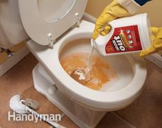 via pinner:  a rust stain remover or a product that contains diluted hydrochloric acid (also listed on product labels as hydrogen chloride, HCL or muriatic acid). Be careful not to use a product containing bleach—it'll set the stain. For toilets, add Super Iron Out to th  Read more: http://www.familyhandyman.com/cleaning/top-10-household-cleaning-tips-the-tough-problems