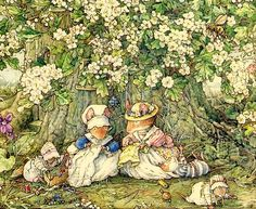 I like Jill Barklem's illustrations for the Brambly Hedge series of stories because they are very detailed. If you look closer you could see tiny creatures and beads.