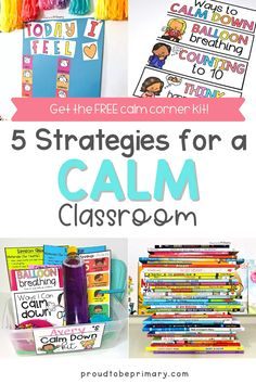 5 effective strategies to help elementary teachers create a calm, productive classroom. Find ideas on creating a calm corner in the classroom and DIY ideas for making calm down kits for students to use to self-regulate and manage their emotions. Suggestions on which tools to use and how to teach them to kids are included, as well as mindfulness (breathing, music, yoga) and children's book suggestions. Grab the free printable calm corner posters and journal to help kids develop coping skills! Calm Classroom, Classroom Behavior, Classroom Management Strategies, Behavior Management, Teaching Respect, Calm Down Kit, Character Education Lessons, Calm Down Corner, Emotional Awareness