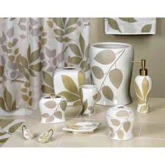 Shadow Leaves 7-Piece Ceramic Bath Accessory Set in White/Green/Lavender/Tan