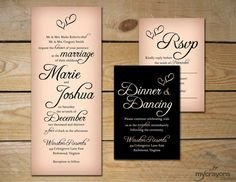 Calligraphy Hearts Wedding Invitation Set by MyCrayons // DIY Printable // Black and Peach, Blush Pink