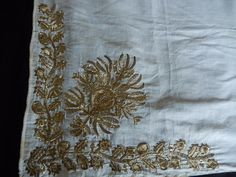 Antique Turkish Gold Metallic Tinsel Embroidered Lawn Kerchief Cover Ottoman 9