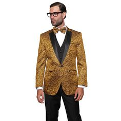 Add a dash of debonair to your special occasion with this stunning 3-piece tuxedo suit. Made from wool, this bold suit features a gold swirl pattern on the jacket with a 1-button closure, two front pockets, and matching bow tie.
