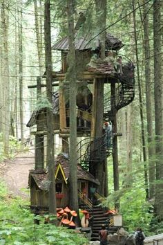 The Enchanted Forest, a family attraction built in an old growth British Columbia forest, features fairytale characters, a dragon-guarded castle, and this three-tier treehouse rising 50 feet into the air. | Photo: Wayne Krauscopf | thisoldhouse.com by sylvia alvarez