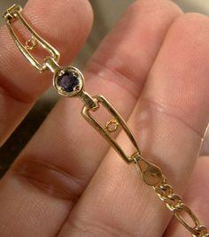 10K Blue SAPPHIRE BRACELET Natural Gem 10 K Yellow Gold Single Stone Sapphire Stone, Blue Sapphire, Sapphire Bracelet, Emerald Gemstone, Modern Jewelry, Gemstones, Diamond, Natural, Bracelets