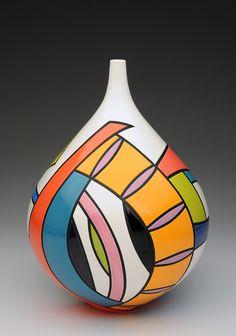 Cliff House Studio and Gallery — Pamela Summers Polychrome Glass Bottle Crafts, Bottle Art, Pottery Painting Designs, Decorative Gourds, Sculptures Céramiques, Painted Flower Pots, Fused Glass Art, Bottle Painting, Gourd Art