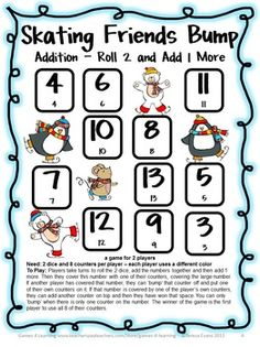 Addition Bump Games FREEBIE from Games 4 Learning - These printable addition bump games are 2 player games that require only dice and counters to play.