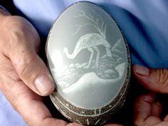 HAND CARVED ABORIGINAL EMU EGG FROM AUSTRALIA GEMSTONE SPECIMEN