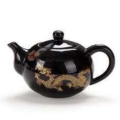 Black And Golden Dragon Chinese Teapot