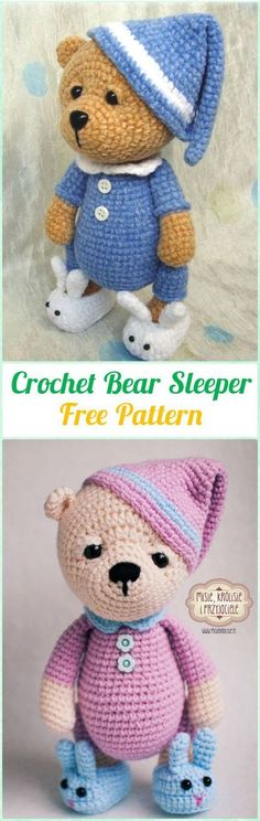 Amigurumi Crochet Bear Sleeper Free Pattern - Amigurumi Crochet Teddy Bear Toys Free Patterns - The Crocheting Place Knitted Teddy Bear, Teddy Bear Toys, Crochet Bear, Crochet Patterns Amigurumi, Cute Crochet, Amigurumi Doll, Crochet For Kids, Teddy Bears, Teddy Bear Crochet Pattern