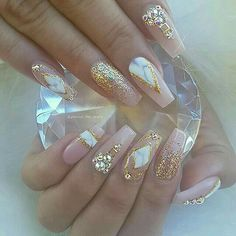 In seek out some nail designs and ideas for your nails? Here is our list of 36 must-try coffin acrylic nails for fashionable women. Glam Nails, Fancy Nails, Bling Nails, Love Nails, Beauty Nails, My Nails, Bling Wedding Nails, Drip Nails, Style Nails