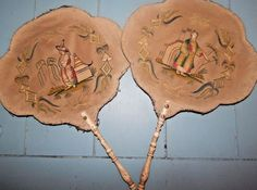 2 ANTIQUE Chinese HAND EMBROIDERED SILK FAN Bovine Handle QING pien mien LOT
