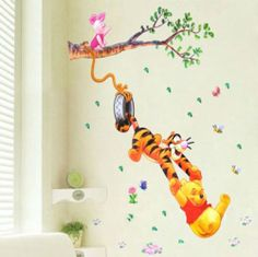 HUGE60*90 Winnie The Pooh&Tigger Flower Wall Stickers Children Kids Nursery Room   eBay - to go on wall in book corner