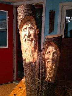 Wood Spirit carved in basswood by Elizabeth Brown, Liverpool NS. Wood Carving Faces, Tree Carving, Wood Carving Art, Wood Carvings, Chainsaw Carvings, Hand Carved Walking Sticks, Wooden Walking Canes, Carving Designs, Art Carved