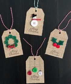 DIY Christmas Gift Tags DIY Christmas Gift Tags are fun and easy to make and the possibilities are endless. Homemade Christmas Cards, Diy Christmas Gifts, Handmade Christmas, Button Christmas Cards, Christmas Tables, Nordic Christmas, Modern Christmas, Holiday Cards, Christmas Holidays